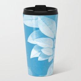 Leaves in Blue Metal Travel Mug