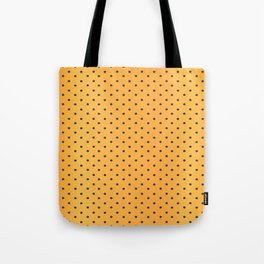 Golden Yellow and Black Polka Dots Tote Bag
