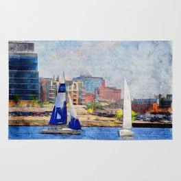 Sailing duel Inner Harbor Baltimore Rug