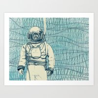 diver Art Prints featuring Diver by Alli Coate