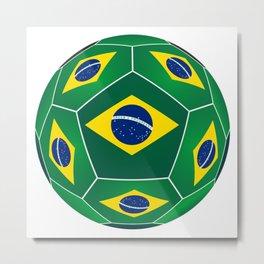 Soccer ball with Brazilian flag Metal Print