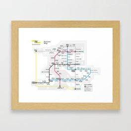 Kuwait City Metro Map Framed Art Print