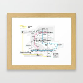 Kuwait City Metro Map Framed Art Print