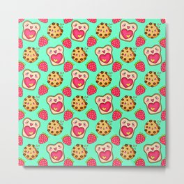 Cute funny sweet adorable happy Kawaii toast with raspberry jam and butter, chocolate chip cookies, red ripe summer strawberries cartoon fantasy pastel green pattern design Metal Print