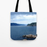 norway Tote Bags featuring Landscape Norway by Christine baessler