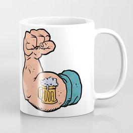 arm flexed with beer tattoo Coffee Mug