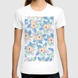 Tropical coral lilac lavender blue watercolor floral T-shirt