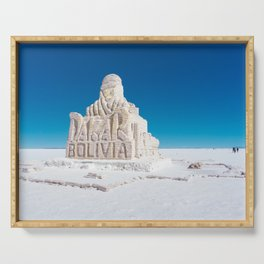 Dakar, Bolivia Monument in Salar de Uyuni, Salt Flats Serving Tray