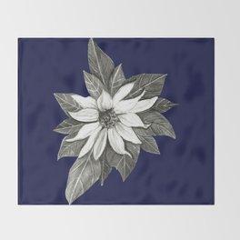 Florida Flower Navy Blue Background Throw Blanket