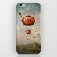 tea iPhone & iPod Skins featuring Tea for Two at Dusk by Paula Belle Flores