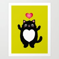 fat Art Prints featuring Fat Cat by Anna Alekseeva kostolom3000