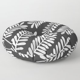 White Leaflets Floor Pillow