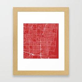 Fort Lauderdale Map, USA - Red Framed Art Print