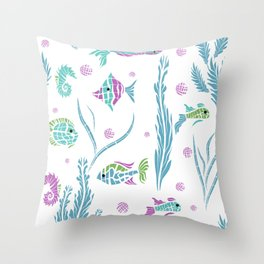 Sea , fish , seaweed , baby pattern . 2 Throw Pillow