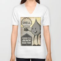oil V-neck T-shirts featuring Oil Spills by Sophie Broyd