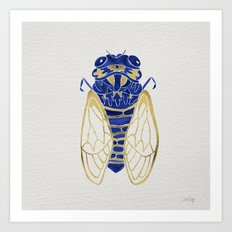 Cicada – Navy & Gold Art Print