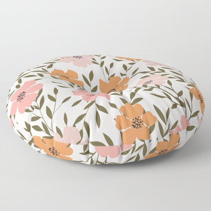 70s Floral Theme Floor Pillow