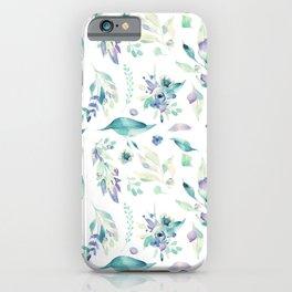 Modern jade green lavender watercolor floral iPhone Case