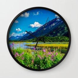 God's Country - Summer in Alaska Wall Clock