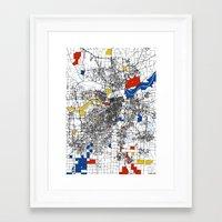 kansas city Framed Art Prints featuring Kansas City  by Mondrian Maps