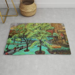 "Classical Masterpiece 'Spring, Washington Square, NYC"" by John French Sloan Rug"