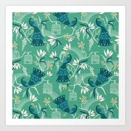 Aviary - Green Art Print
