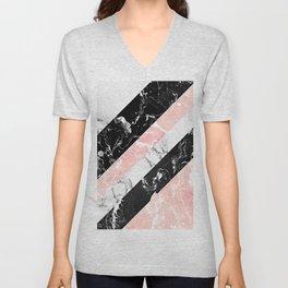 Modern black white pastel pink marble color block stripes Unisex V-Neck