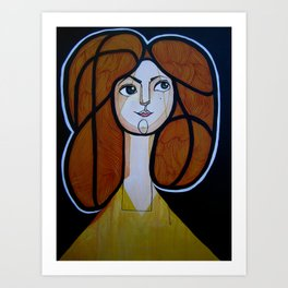red headed woman Art Print