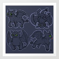 toothless Art Prints featuring Toothless  by Magen Works