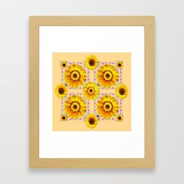 CREAM COLOR WESTERN STYLE YELLOW SUNFLOWERS Framed Art Print