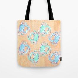 Crab orange blue nautical Tote Bag