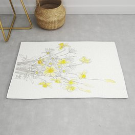 white daisy and yellow daffodils ink and watercolor Rug