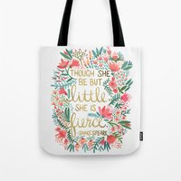 colorful Tote Bags featuring Little & Fierce by Cat Coquillette