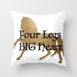 Golden running horse equestrian Throw Pillow