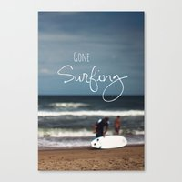 surfing Canvas Prints featuring Surfing by Brandy Coleman Ford
