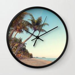 tropical beach sunset palms ocean waves travel Wall Clock