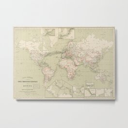 Vintage Map of The World (1898) Metal Print