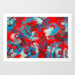 Red and blue mandalas Art Print