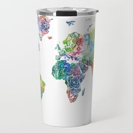 world map mandala watercolor white Travel Mug