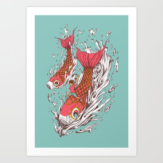 Ride with Koi Art Print