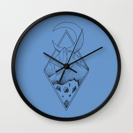 Geometric mountain in a diamonds with moon (tattoo style - black and white) Wall Clock