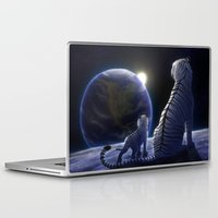 tigers Laptop & iPad Skins featuring Moon Tigers by Chiakiro