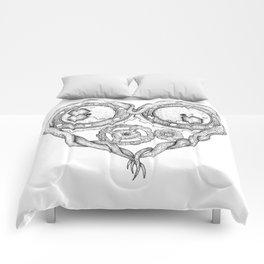 Chemistry of love: dopamine and serotonin formula (black and white version) Comforters