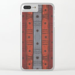 Stripes and dots in earth tones, Clear iPhone Case