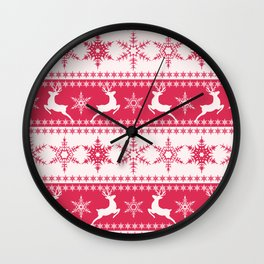 Christmas red and white pattern with decorative bands. Wall Clock