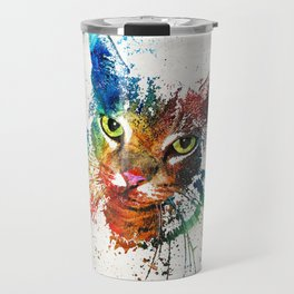 Colorful Cat Art by Sharon Cummings Travel Mug