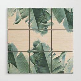 Blue Tropical Banana Leaf Plant Wood Wall Art