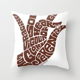 Heart Hand Milk Chocolate Throw Pillow