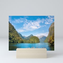 Unique experience kayaking into incredible scenery at Doubtful Sound Mini Art Print