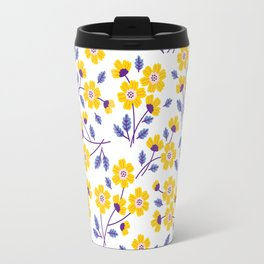 Floral pattern. Yellow flowers. Travel Mug